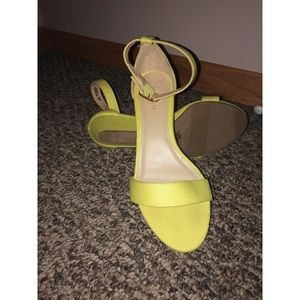 Shoes - neon green strap wedges